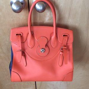 Ralph Lauren Ricky rugby two tone satchel handbag